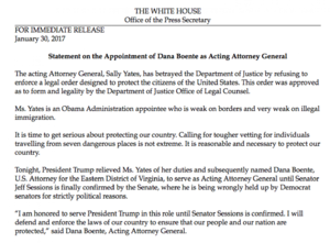 Sally Yates - White House press release on the dismissal of Sally Yates