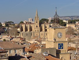 A view of Salon-de-Provence, with the church and clock tower