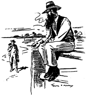 """Saltbush Bill's Second Fight - Illustration from original publication of """"Saltbush Bill's Second Fight"""" - Stingy Smith meets the tramp"""
