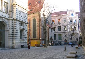 Literaturhaus München - Salvatorplatz with Literaturhaus (front left) and Salvatorkirche (rear left)