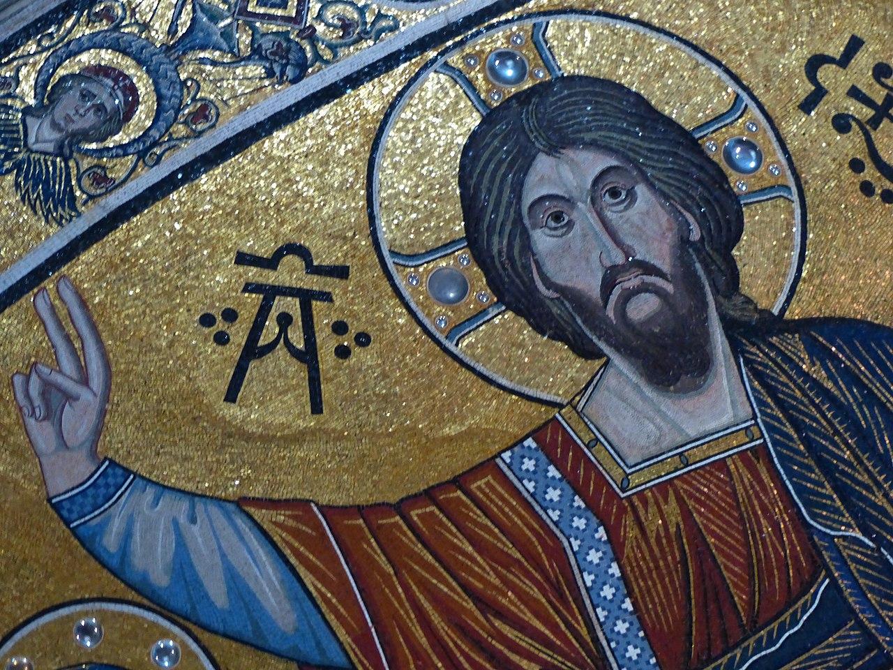Mosaico absidale con Santa Maria, il Cristo Pantokrator e San Miniato, (particolare Cristo Pantokrato), San Miniato al Monte, Firenze