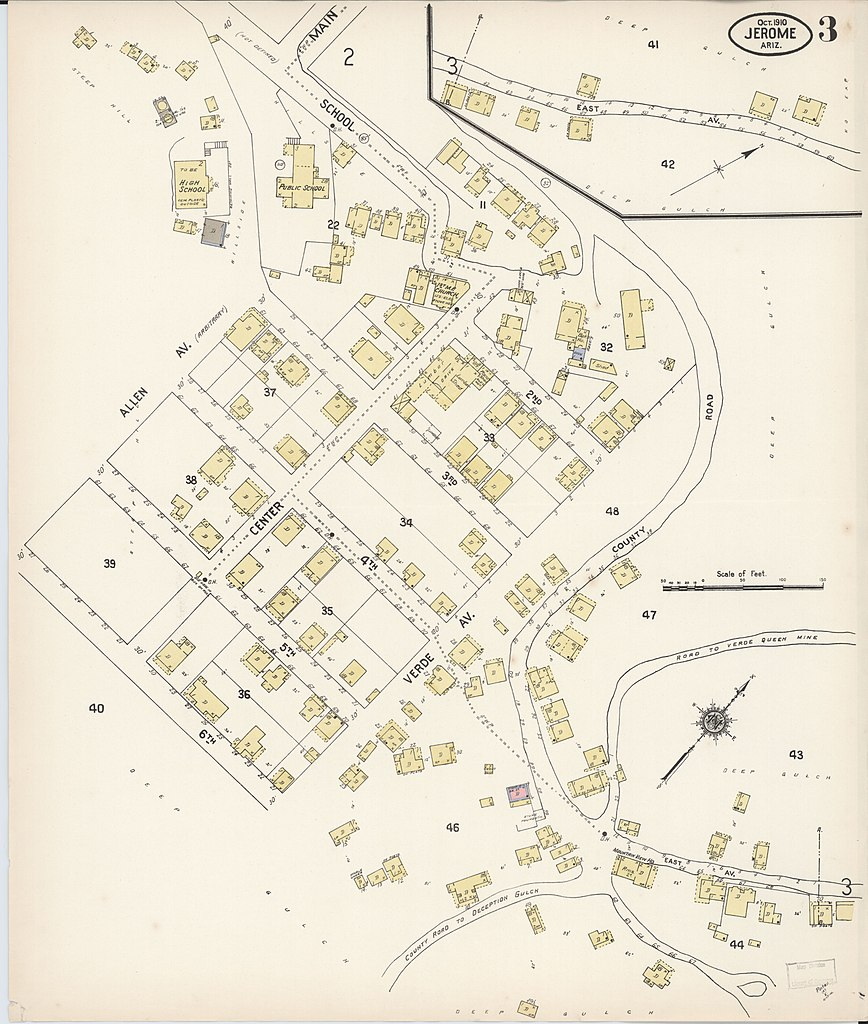 Map Of Arizona Jerome.File Sanborn Fire Insurance Map From Jerome Yavapai County Arizona