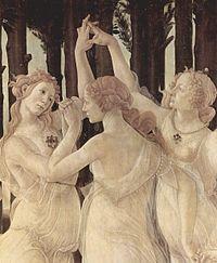 Οι Χάριτες όπως αποδόθηκαν από τον Sandro Botticelli (π. 1485)(λεπτομέρεια από τον πίνακα Primavera).