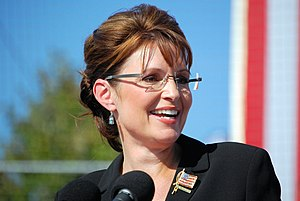 Sarah Palin speaking at a rally in Elon, NC du...