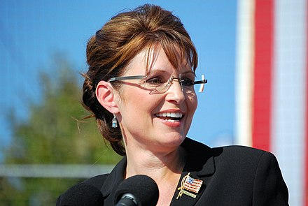 Palin on the campaign trail in 2008 SarahPalinElon.jpg