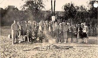 Saskatoon Teachers' College - Room J of the Saskatoon Normal School at the wiener roast on the river bank near Yorath Island, 16 September 1930