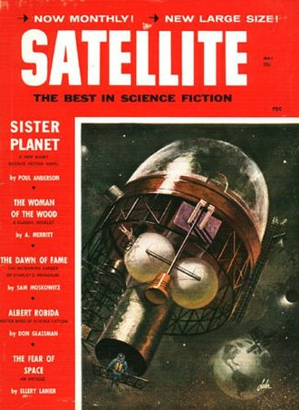"""Poul Anderson bibliography - Anderson's novella """"Sister Planet"""" was cover-feature on the May 1959 issue of Satellite Science Fiction; the cover also featured Paul Lehr's first artwork for an SF magazine."""