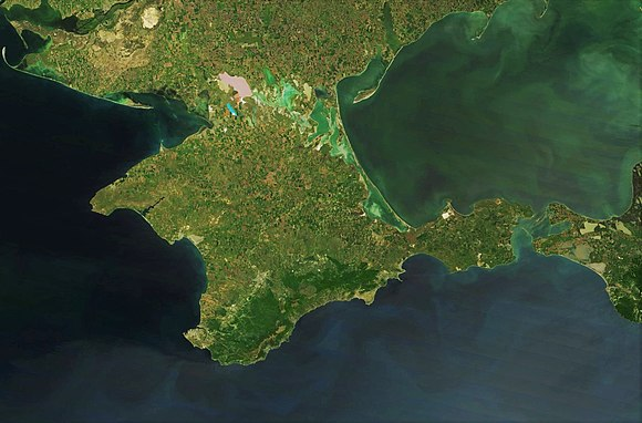 Satellite image. The Genoese ports and later Turkish-controlled area were south of the mountains. Satellite picture of Crimea, Terra-MODIS, 05-16-2015.jpg