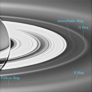 English: The outer Rings of Saturn seen back-i...