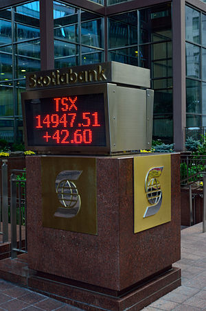 Toronto Stock Exchange - TSX closing point displayed at Scotia Plaza
