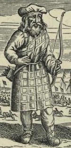 Belted plaid - Scottish archer wearing kilt and plaid, early 17th century.