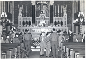 Religion in Scouting - Image: Scout Sunday service Philadelphia 1949