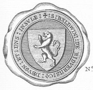 "Baldwin de Redvers, 6th Earl of Devon - Seal of Baldwin de Redvers. Arms: a lion rampant. Legend: ""S(IGILLUM) BALDWINI DE RIDVERIIS CO(MITIS) DEVON(IAE) ET D(OMI)N(U)S INSUL(A)E"" (seal of Baldwin de Redvers, Count of Devon and of The Isle)"