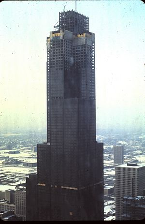 Willis Tower - The Sears Tower during its construction, in 1973