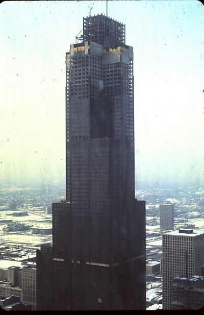 The Sears Tower during its construction, in 1973 Sears Willis Tower.jpg