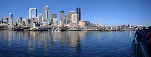 Seattle–Bainbridge ferry - Image: Seattle waterfront pano