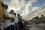 Secretary of Defense Ash Carter and Defence Minister Manohar Parrikar observe flight operations as they tour the USS Dwight D. Eisenhower.jpg