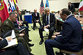 Secretary of Defense Chuck Hagel, second from right, meets informally with Supreme Allied Commander Europe Gen. Philip Breedlove, right, and Commander International Security Assistance Force Gen. Joseph Dunford 130604-D-BW835-061.jpg