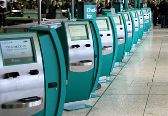 Airport check-in - Aer Lingus self-check-in at Dublin Airport