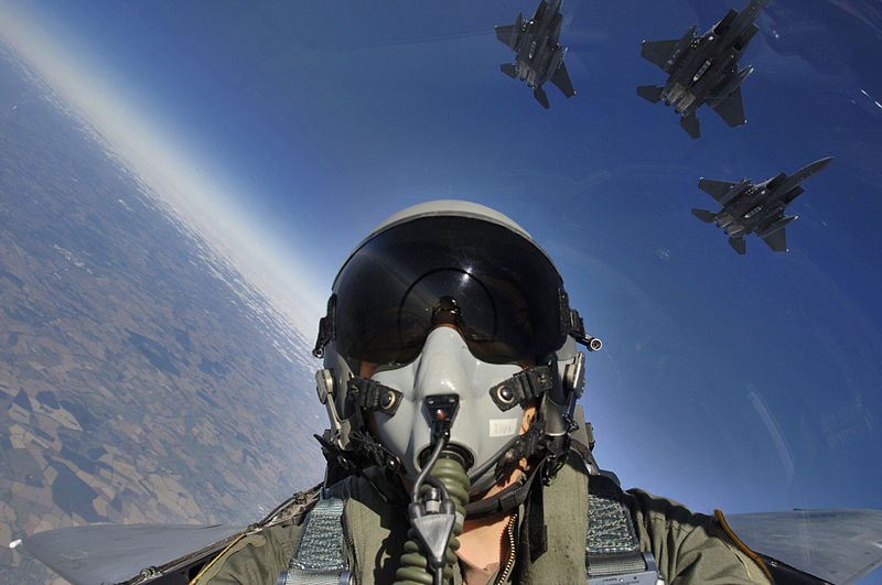 Файл:Self cockpit view and three-ship formation of F-15E.jpg