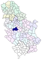 Location of Gornji Milanovac within Serbia