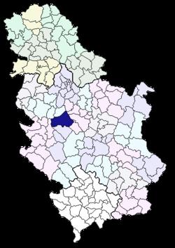 mapa srbije gornji milanovac Opština Gornji Milanovac — Vikipedija, slobodna enciklopedija mapa srbije gornji milanovac