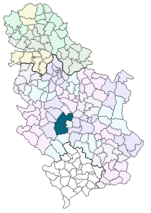 Location of Kraljevo within Serbia