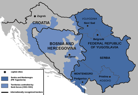 "Serbian-held territories of Croatia and Bosnia and Herzegovina during the Yugoslav wars. The War Crimes Tribunal accused Slobodan Milosevic of ""attempting to create a Greater Serbia""', a Serbian state encompassing the Serb-populated areas of Croatia and Bosnia, and achieved by forcibly removing non-Serbs from large geographical areas through the commission of criminal activity. Serbia in the Yugoslav Wars.png"