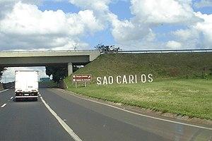 Highway system of São Paulo - Washington Luís Highway near São Carlos, km 236 South.