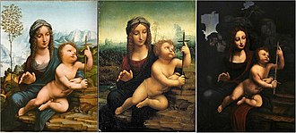 Madonna of the Yarnwinder - Image: Several versions of Madonna with Yarnwinder after Leonardo da Vinci