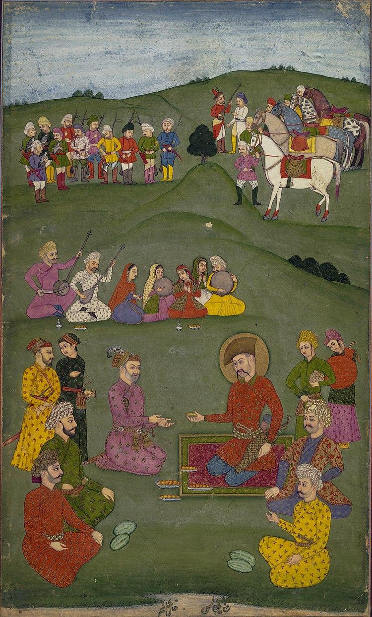 Shah ʿAbbas I receiving Khan ʿÁlam, ambassador from Jahángír in 1617