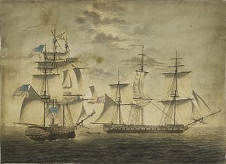 Capture of USS Chesapeake - Chesapeake, left, shortening sail as she bears down on Shannon, who has backed her main topsail to await the American ship. Aquatint by Robert Dodd, London, 1813.