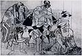 Sharaku (c. 1794–95) Sanokawa Ichimatsu III, Sakata Hangorō III, and Ichikawa Tomizaemon I.jpg