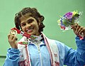 Shilpi Sheoran (India) winner of Gold Medal in 63kg Women's wrestling, during the presentation ceremony, at the 12th South Asian Games-2016, in Guwahati on February 08, 2016.jpg