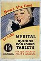 Showcard advertising Merital quinine compound tablets. Wellcome L0030506.jpg