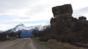 """Cueva del Milodón Natural Monument - The """"Devil's Chair"""" at the entrance of the monumental cave"""