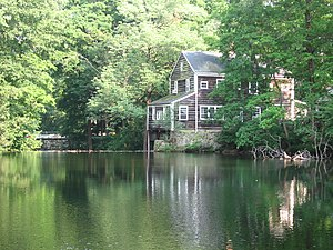 Mill pond and grist mill at Silvermine Tavern