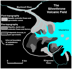 Map of glacial ice, rivers and volcanic deposits in an area of volcanic activity.