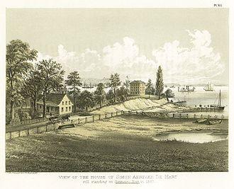 Gowanus, Brooklyn - View of the house of Simon Aertsen De Hart, still standing on Gowanus Bay in 1867