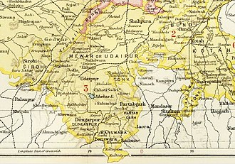 Fürstenstaat Dungarpur auf einer Karte aus The Imperial Gazetteer of India (1907–1909)