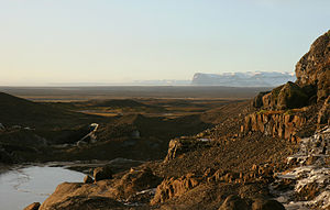 Outwash plain - Skeiðarársandur in Iceland, viewed from its eastern margin at the terminus of Svínafellsjökull glacier