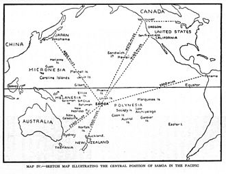 History of Samoa - 1934 Sketch map showing the central position of the Samoa Islands in the Pacific.