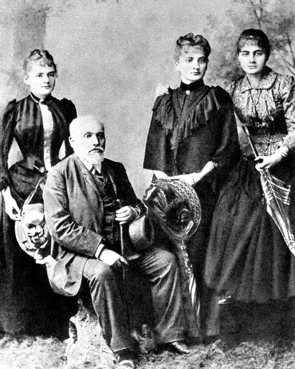 Sklodowski Family Wladyslaw and his daughters Maria Bronislawa Helena