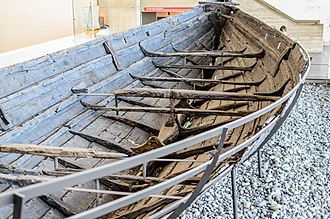 Viking ships - The remains of Skuldelev ship 3 in the Viking Ship Museum (Roskilde).