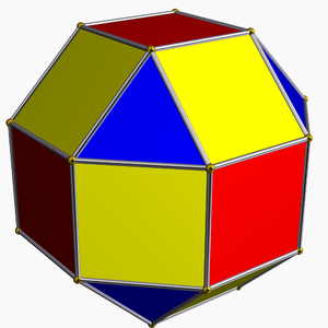 Cantellation (geometry) - A cantellated cube - Red faces are reduced. Edges are bevelled, forming new yellow square faces. Vertices are truncated, forming new blue triangle faces.