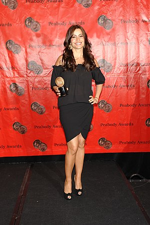 Modern Family - Sofía Vergara with the award for Modern Family at the 69th Annual Peabody Awards