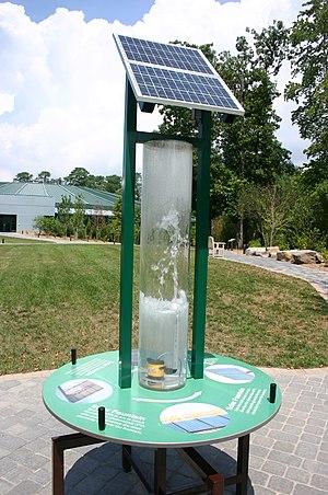 Solar-powered fountain - A typical solar powered fountain