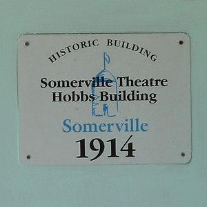 Somerville Theatre - Image: Somerville Theatre Hobbs Building Sign