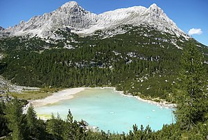 The Sorapiss and his lake, in the Dolomites.