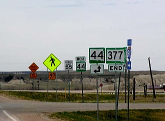 South Dakota Highway 377 - SD 377's southern terminus at SD 44 in Interior